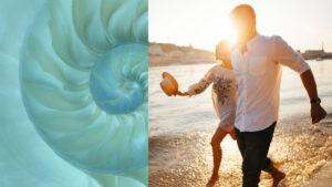 couple walking on beach during sunset