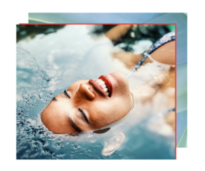 Woman floating relaxing in water