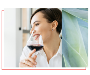 healthy woman drinking wine